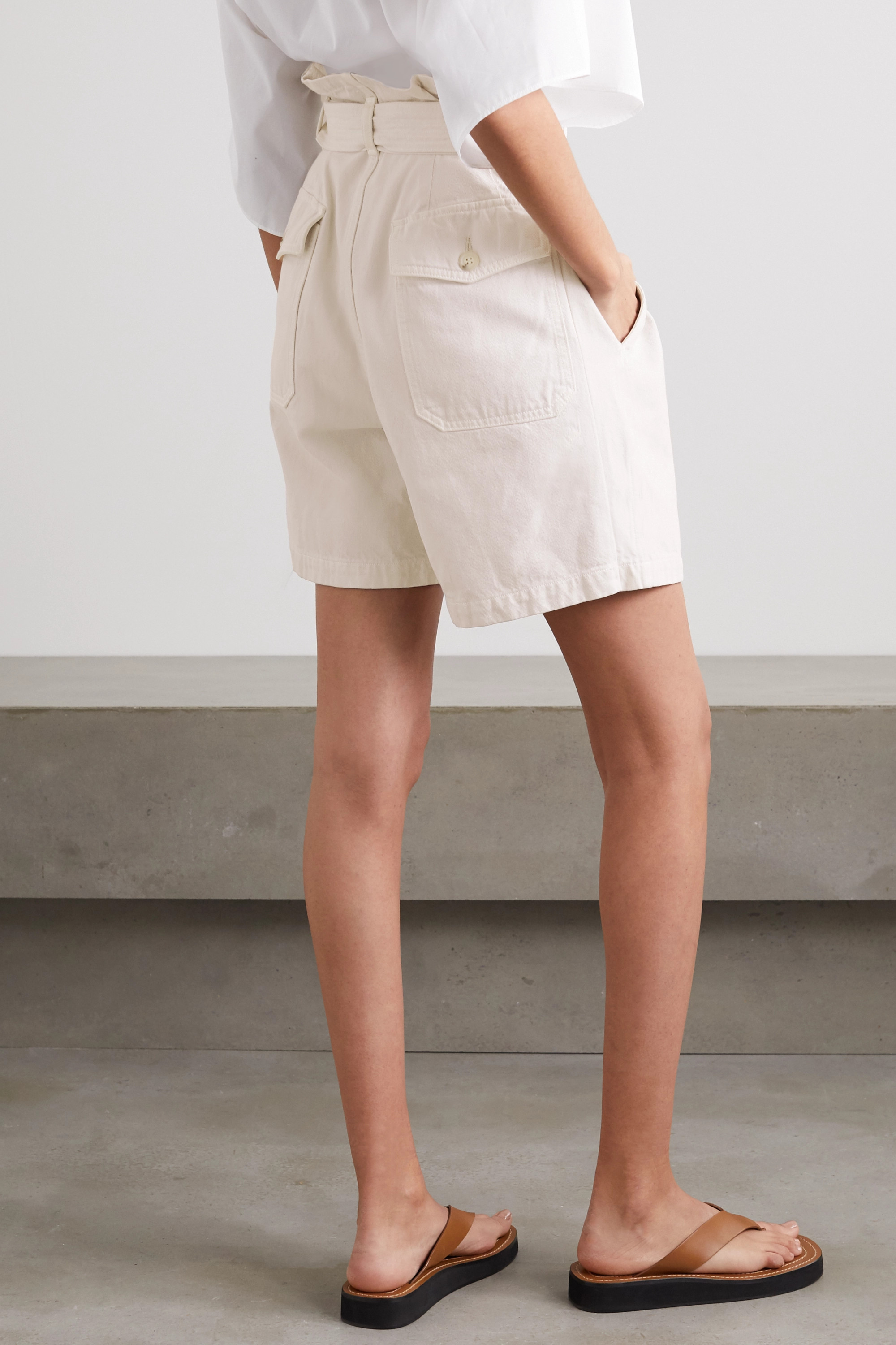 Citizens of Humanity + Space for Giants Kora belted organic cotton-twill shorts