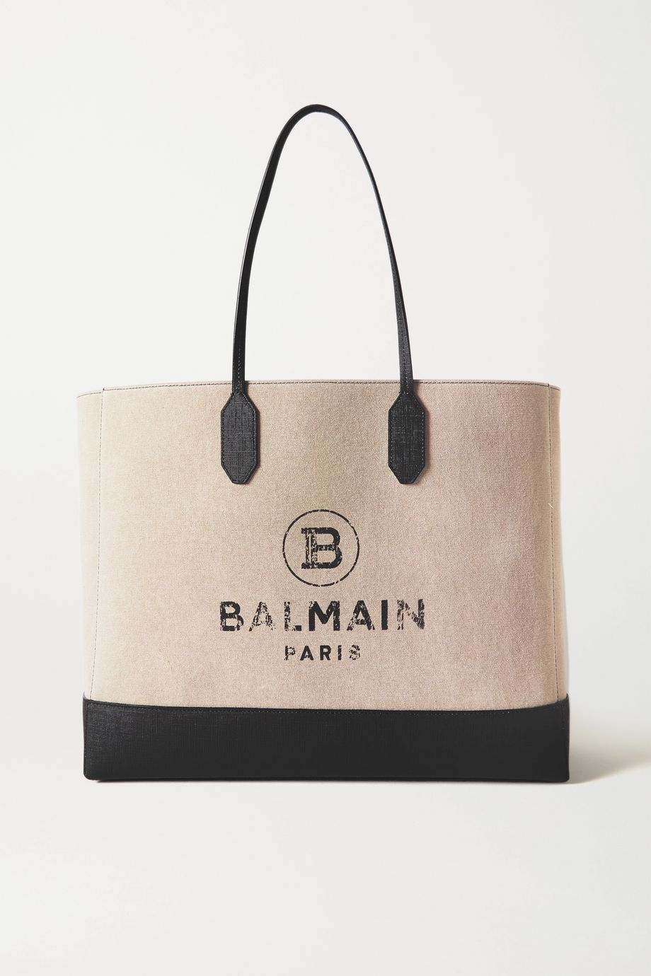 Balmain Medium printed canvas and leather tote