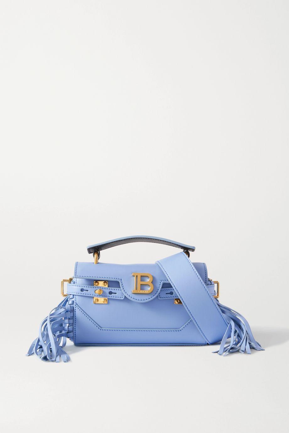 Balmain B-Buzz 19 small fringed leather shoulder bag