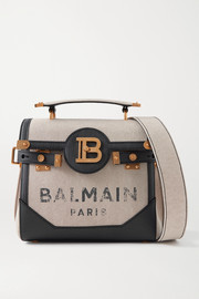 Balmain B-Buzz 23 textured leather-trimmed printed canvas shoulder bag