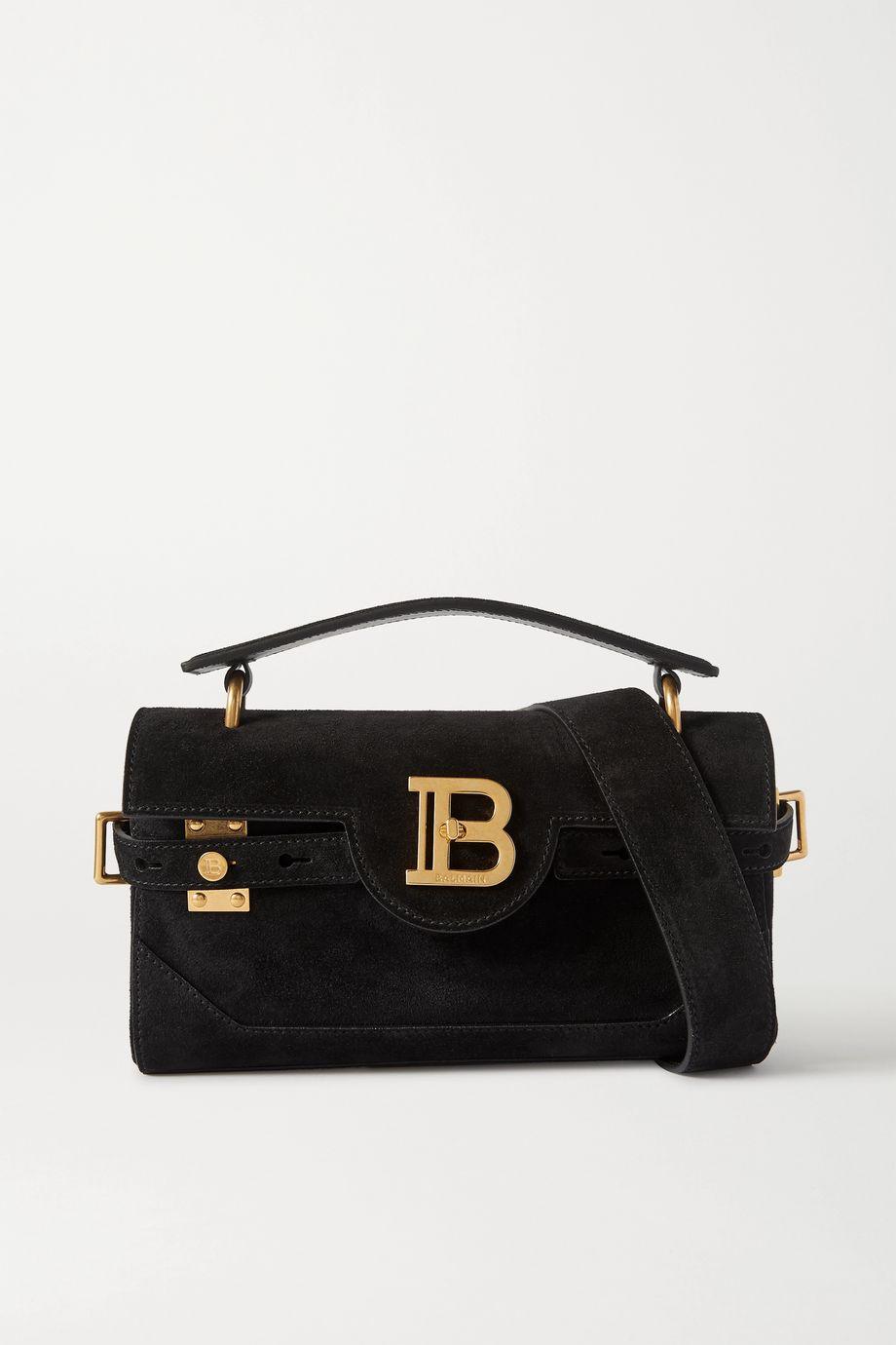 Balmain B-Buzz 26 medium suede shoulder bag