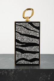 Balmain B-Chain crystal-embellished suede clutch