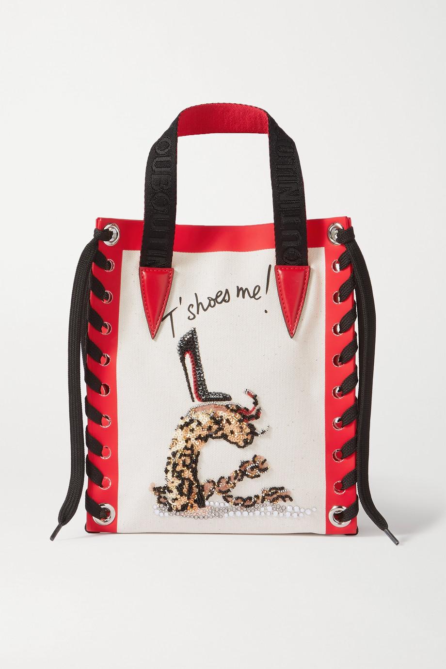 Christian Louboutin Cabalace 绑带式皮革边饰带缀饰印花帆布迷你手提包
