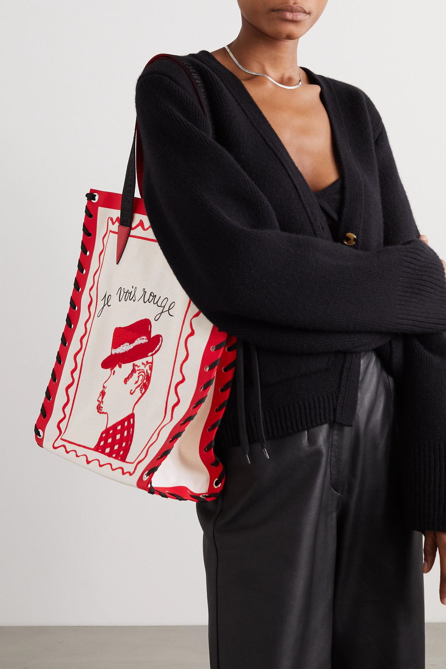 Christian Louboutin Cabalace small lace-up leather-trimmed embroidered printed canvas tote