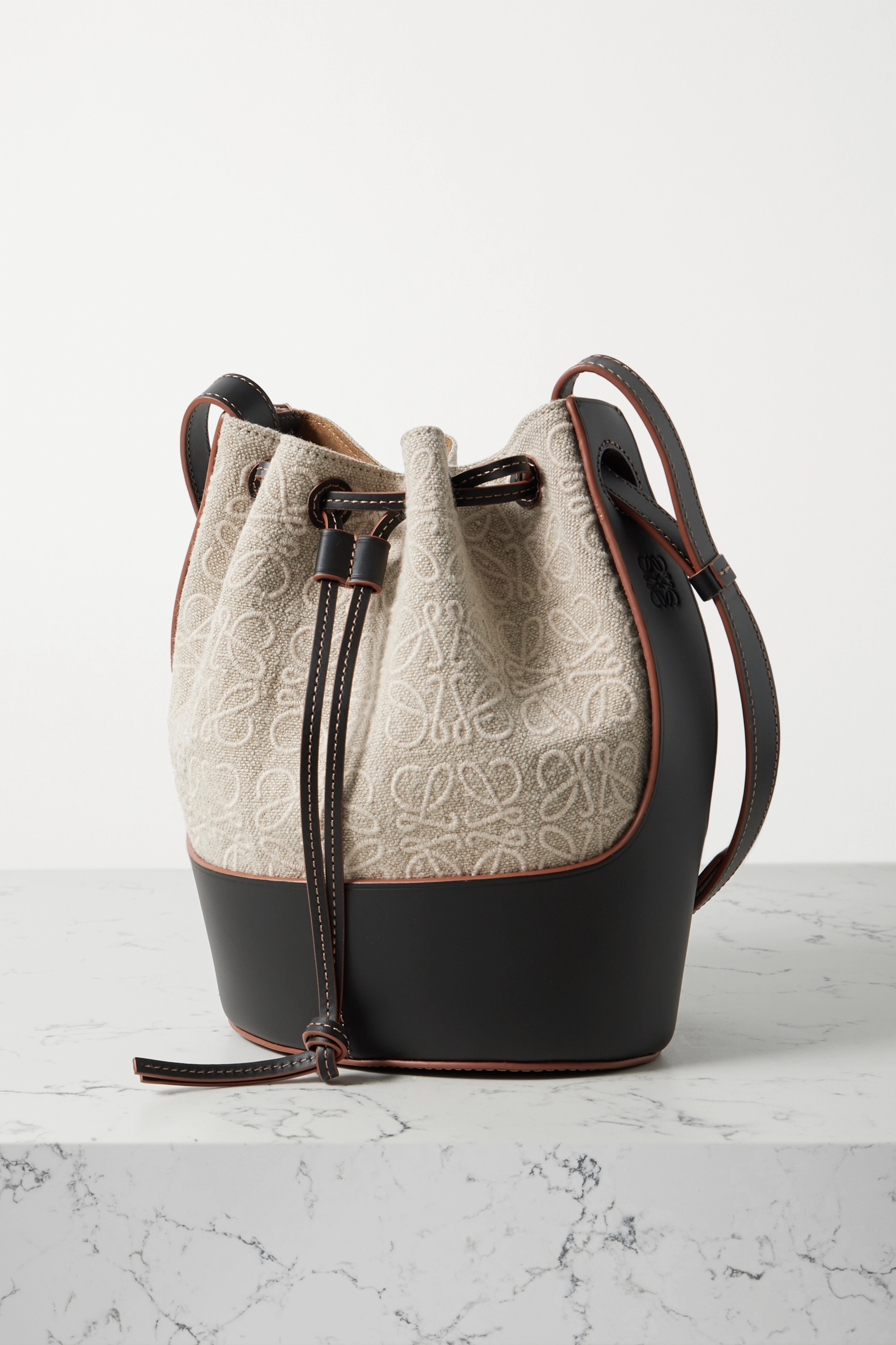 Loewe Balloon small embroidered canvas and leather bucket bag