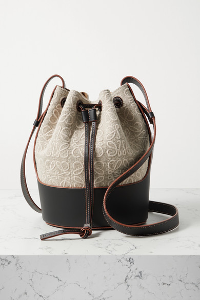 Loewe - Balloon Small Embroidered Canvas And Leather Bucket Bag