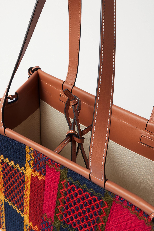 Loewe Sac à main en tweed à carreaux, franges et finitions en cuir Cushion