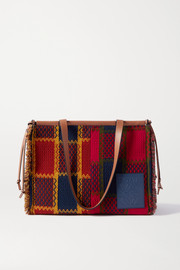 Loewe Cushion leather-trimmed frayed checked tweed tote