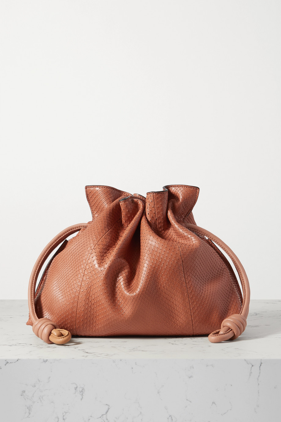 Loewe Flamenco leather-trimmed python clutch