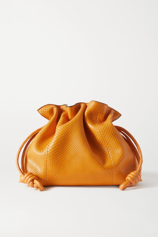 Loewe Pochette en python à finitions en cuir Flamenco