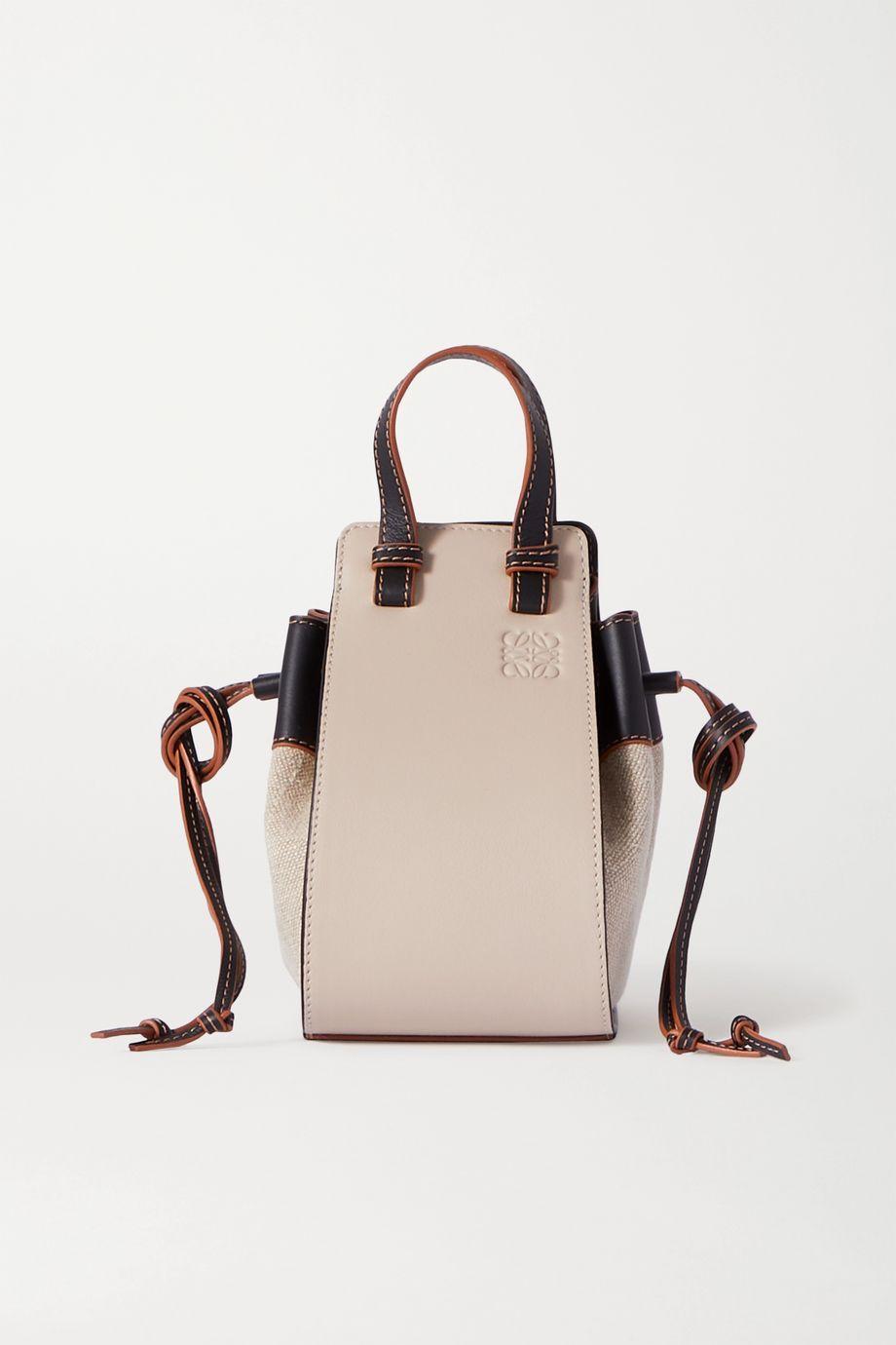 Loewe Hammock mini leather and linen shoulder bag