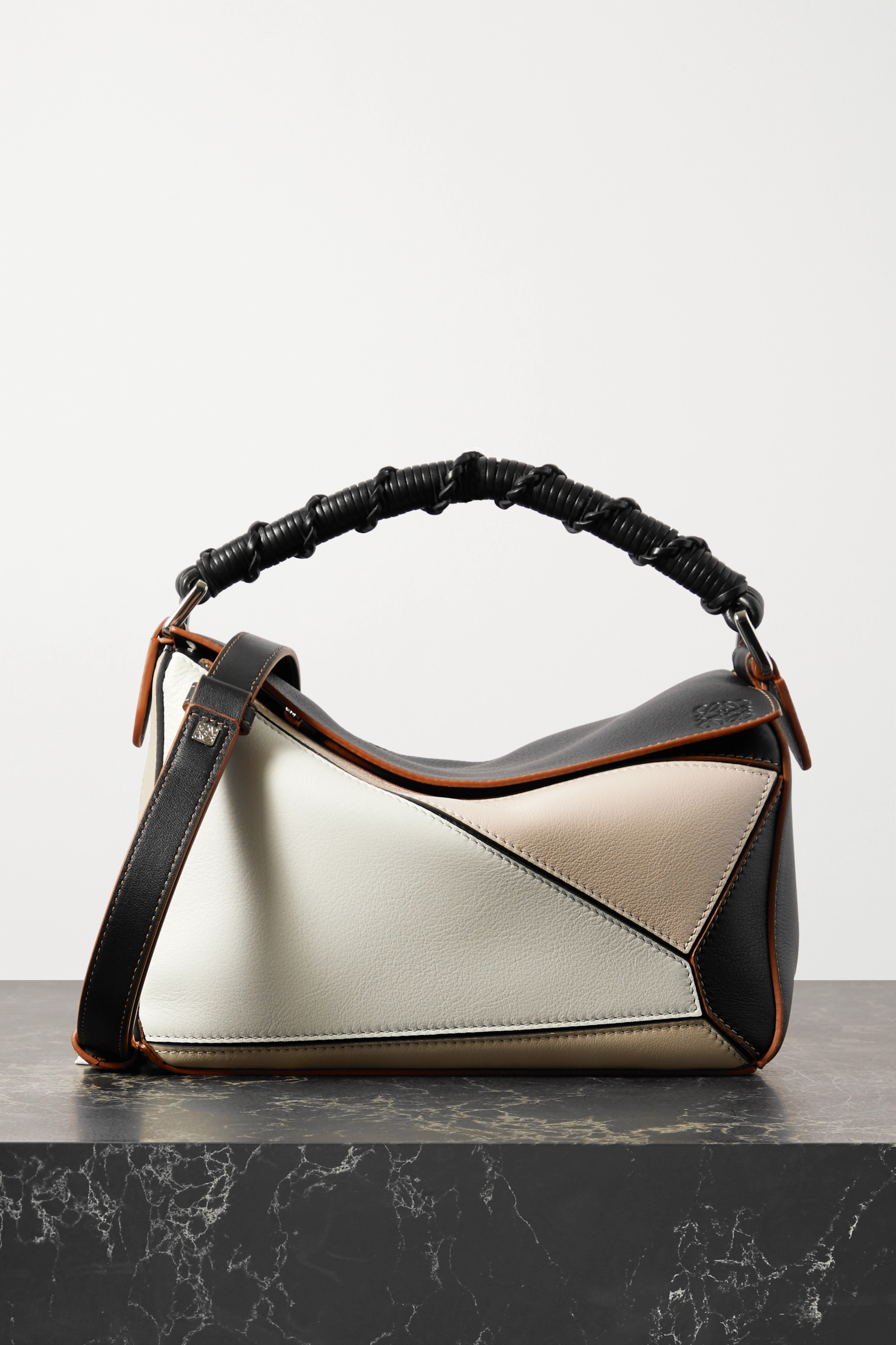 Loewe Puzzle small color-block leather shoulder bag