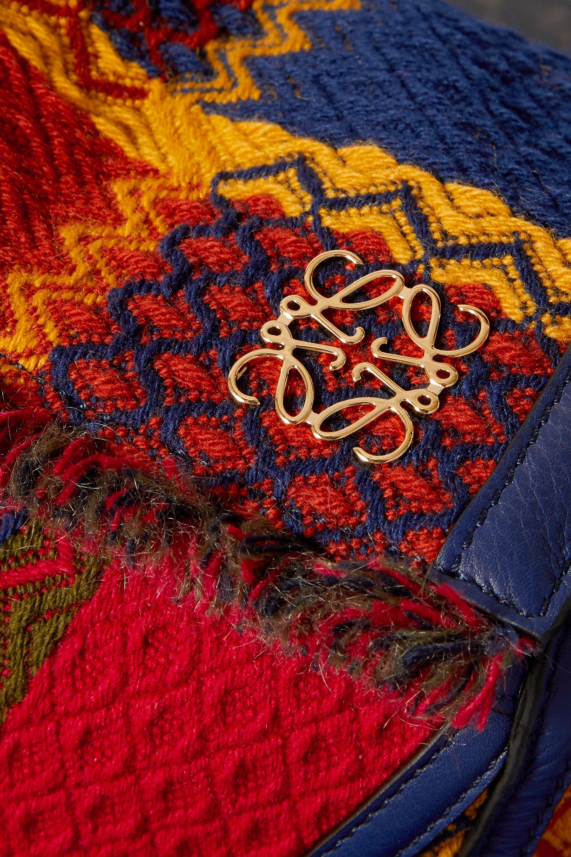 Loewe Puzzle kleine Schultertasche aus Tweed mit Lederbesatz