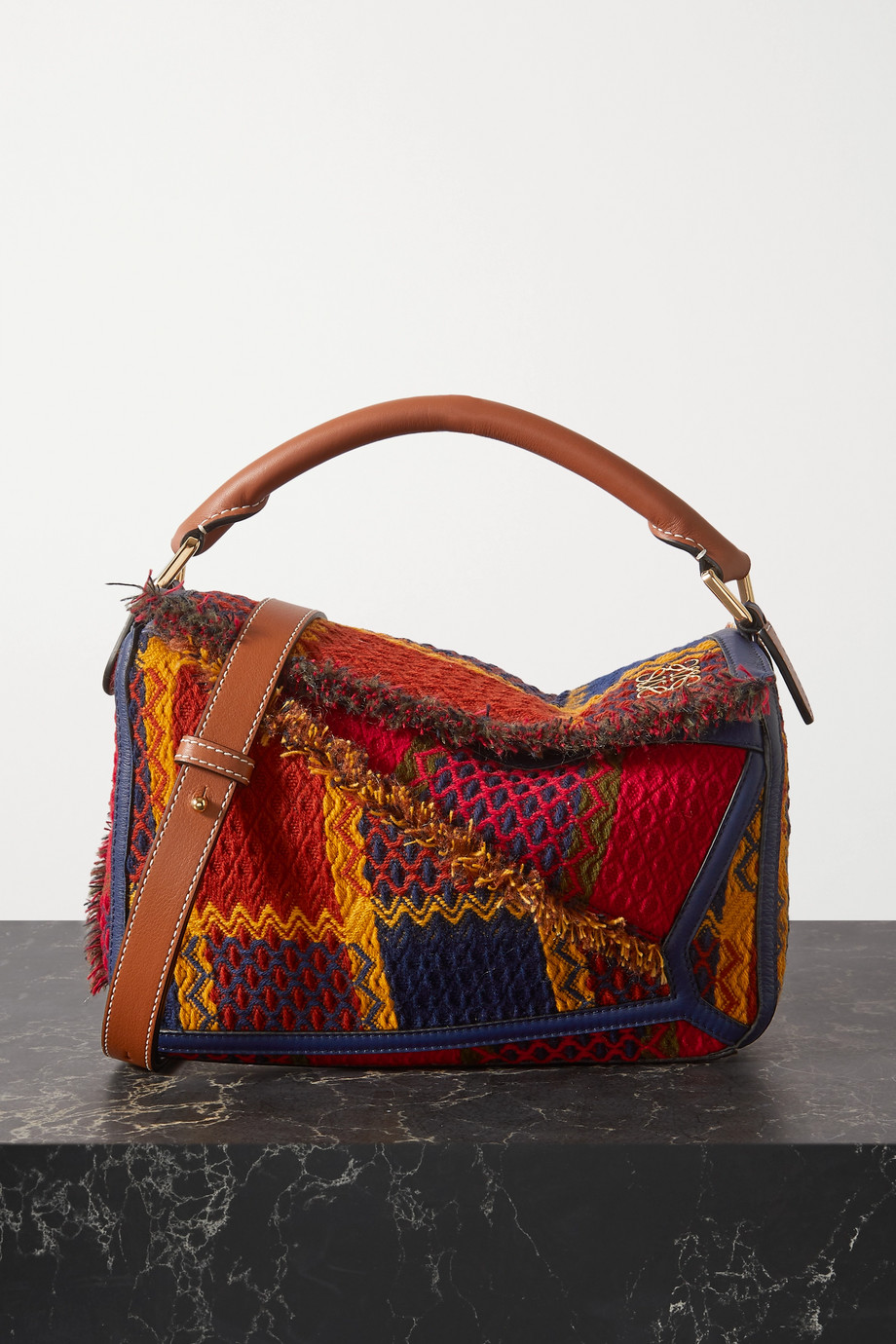 Loewe Puzzle small leather-trimmed tweed shoulder bag