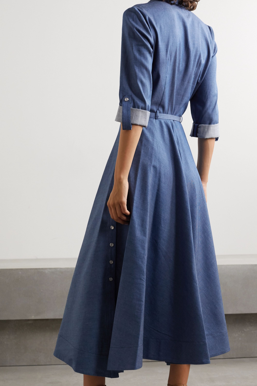 Gabriela Hearst Marley belted cotton-chambray shirt dress