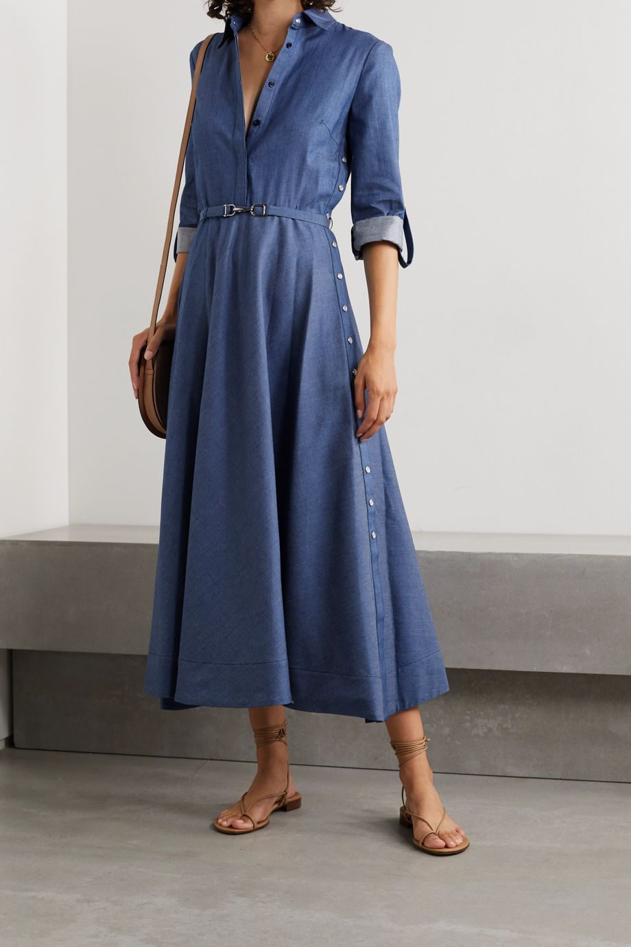 Gabriela Hearst Marley belted cotton-chambray shirt dress