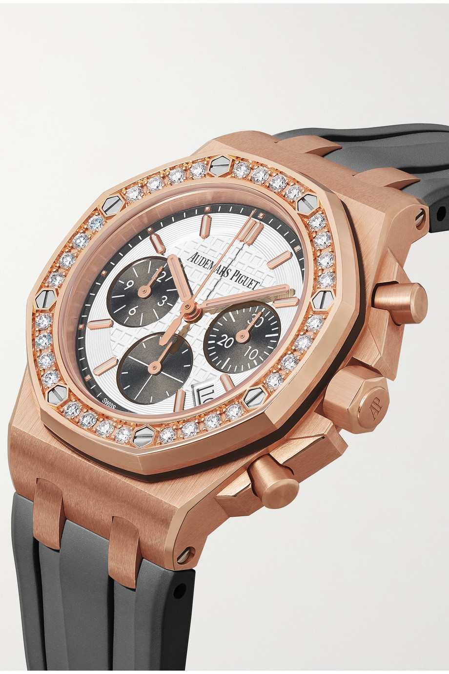 Audemars Piguet Royal Oak Offshore Automatic Chronograph 37mm 18-karat pink gold, rubber and diamond watch
