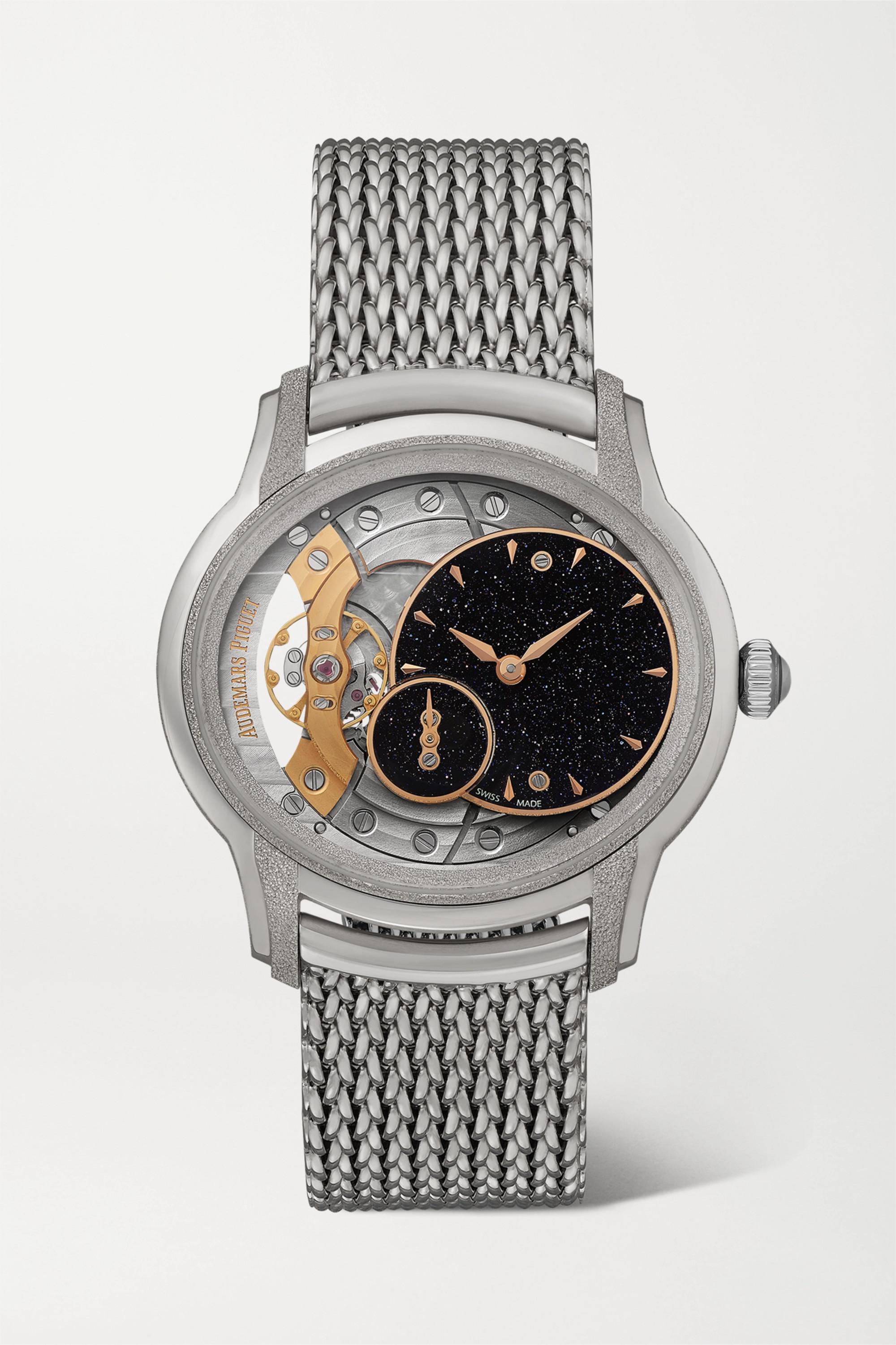 Audemars Piguet Millenary 39.5mm frosted 18-karat white gold and aventurine watch