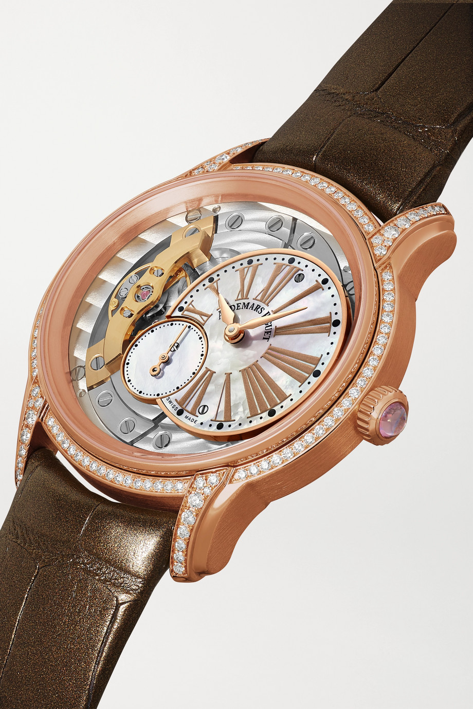 Audemars Piguet Millenary 39.5mm 18-karat pink gold, alligator, diamond and mother-of-pearl watch