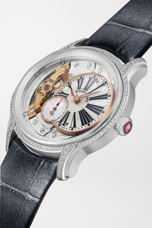 Audemars Piguet Millenary 39.5mm 18-karat white gold, alligator, diamond and mother-of-pearl watch