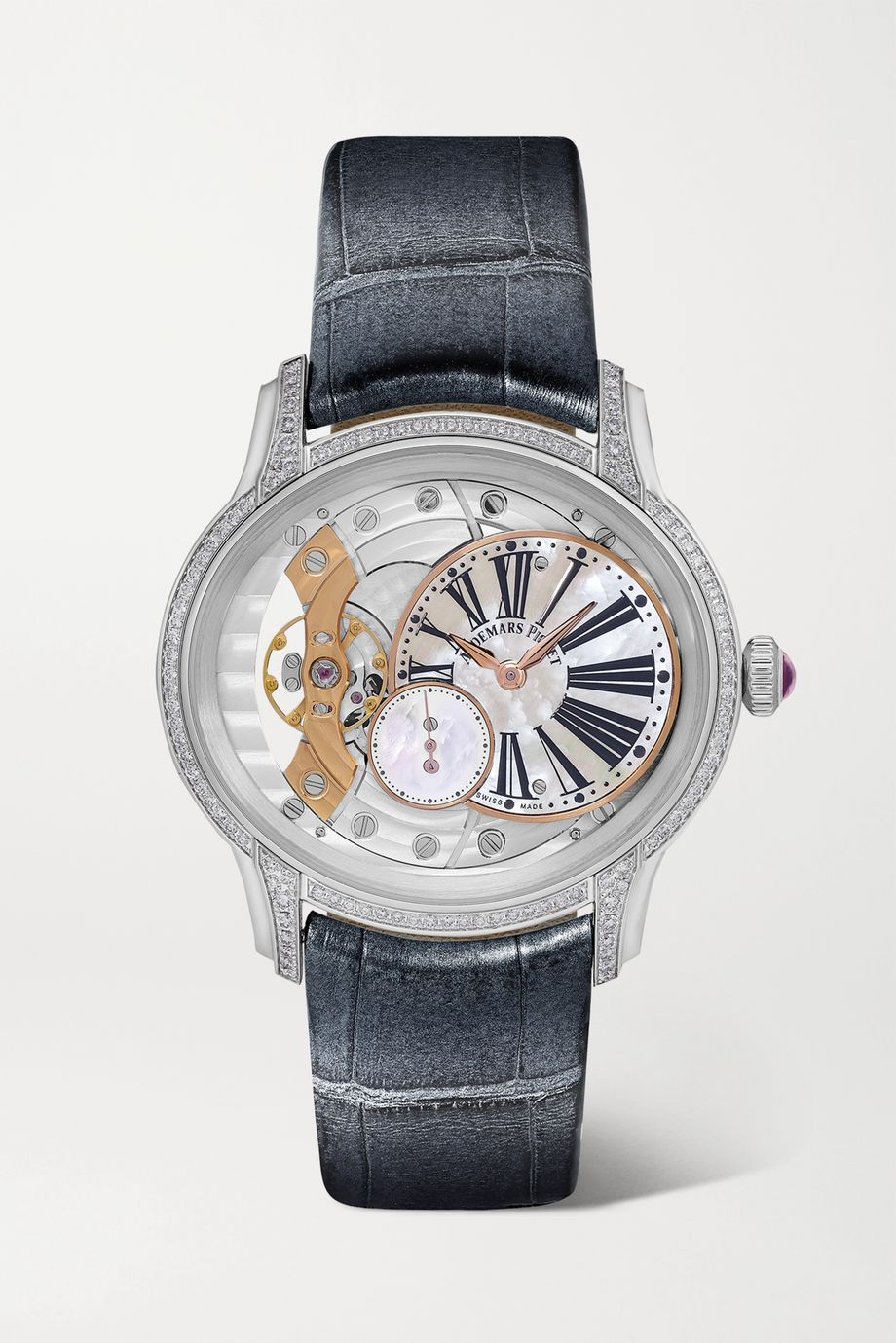 Audemars Piguet Millenary 39.5mm 18-karat white gold, alligator, diamond and mother-of-pearl watch