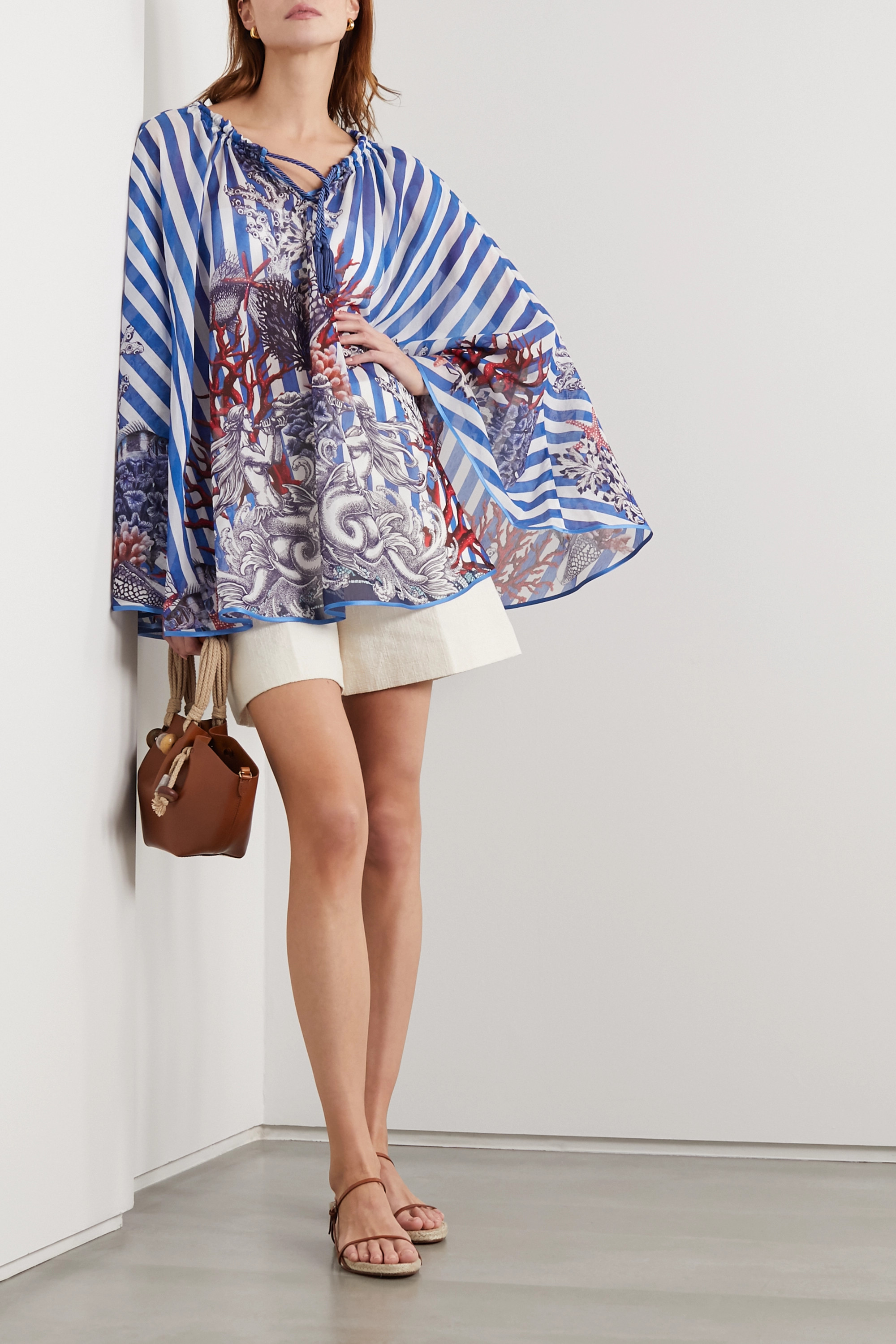 F.R.S For Restless Sleepers Ofione printed cotton and silk-blend poncho