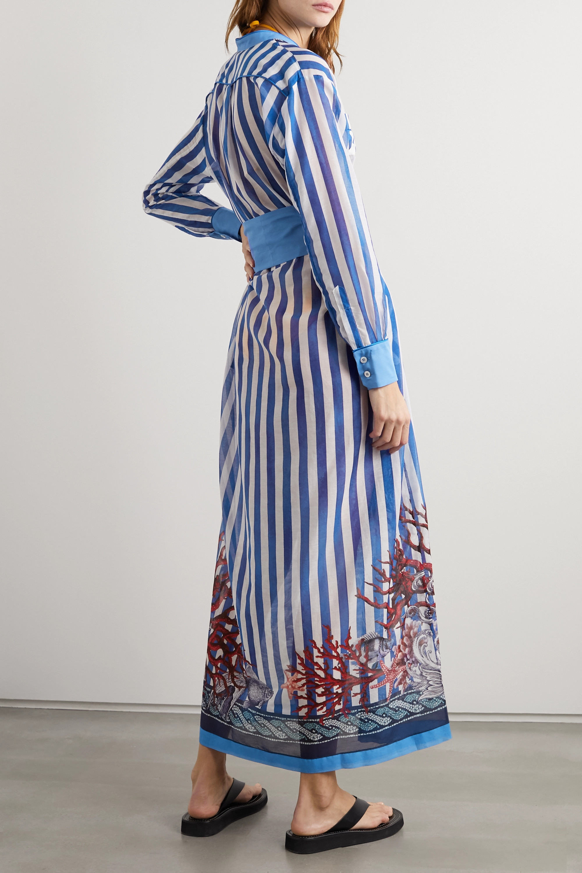 F.R.S For Restless Sleepers Galene belted printed cotton and silk-blend maxi dress