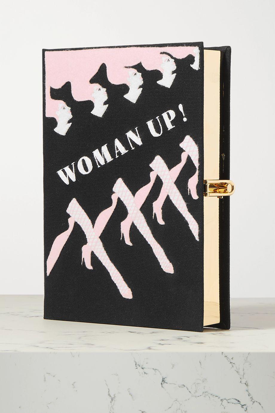 Olympia Le-Tan + International Women's Day Clutch aus Canvas mit Applikationen und Stickereien