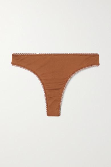 Araks - 【net Sustain】stella 有机纯棉平纹布丁字裤 - 棕色 - x small