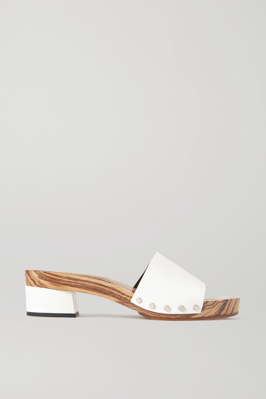 White Leather platform mules | Proenza