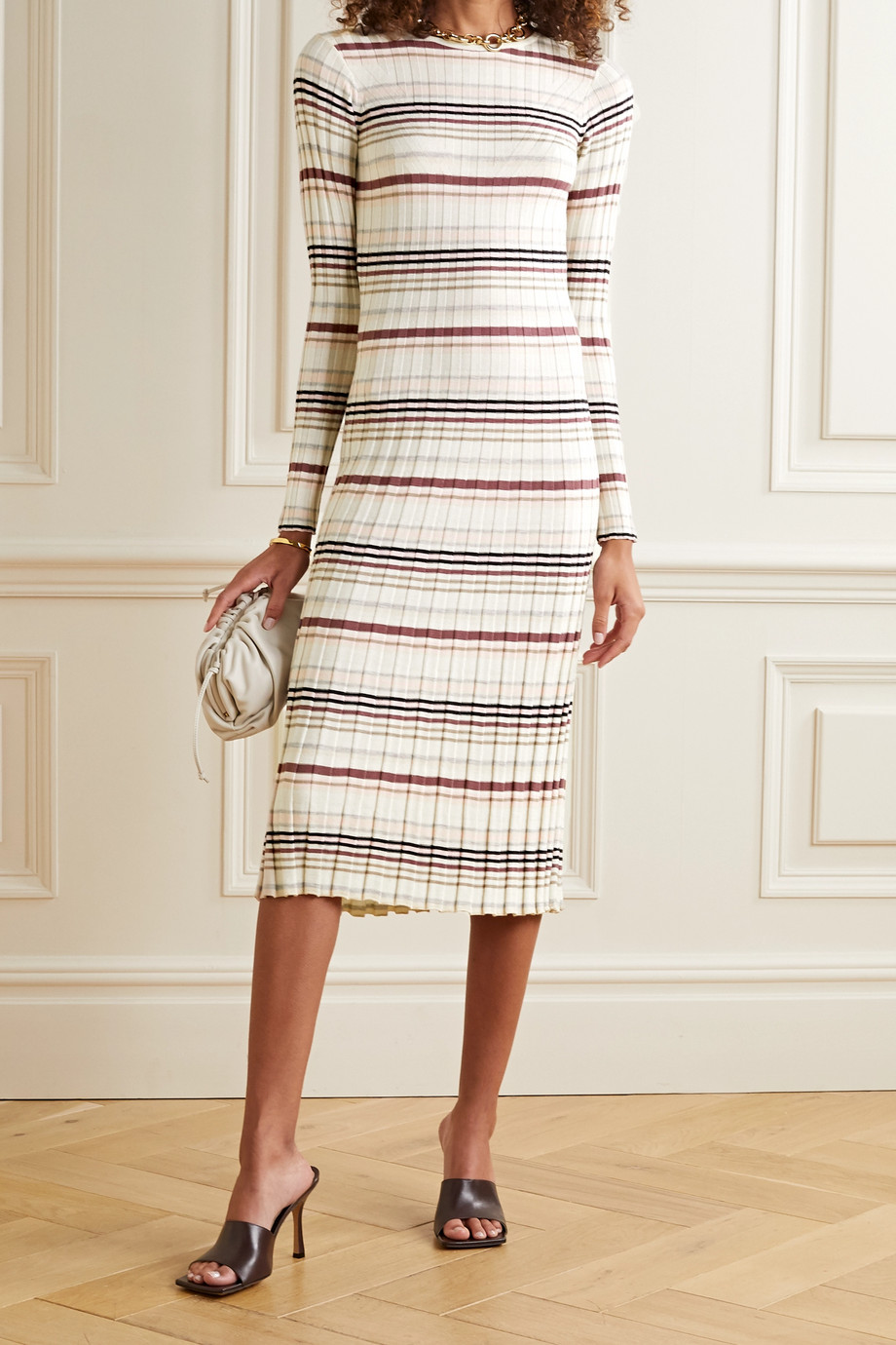 Adam Lippes Striped ribbed silk and cashmere-blend midi dress