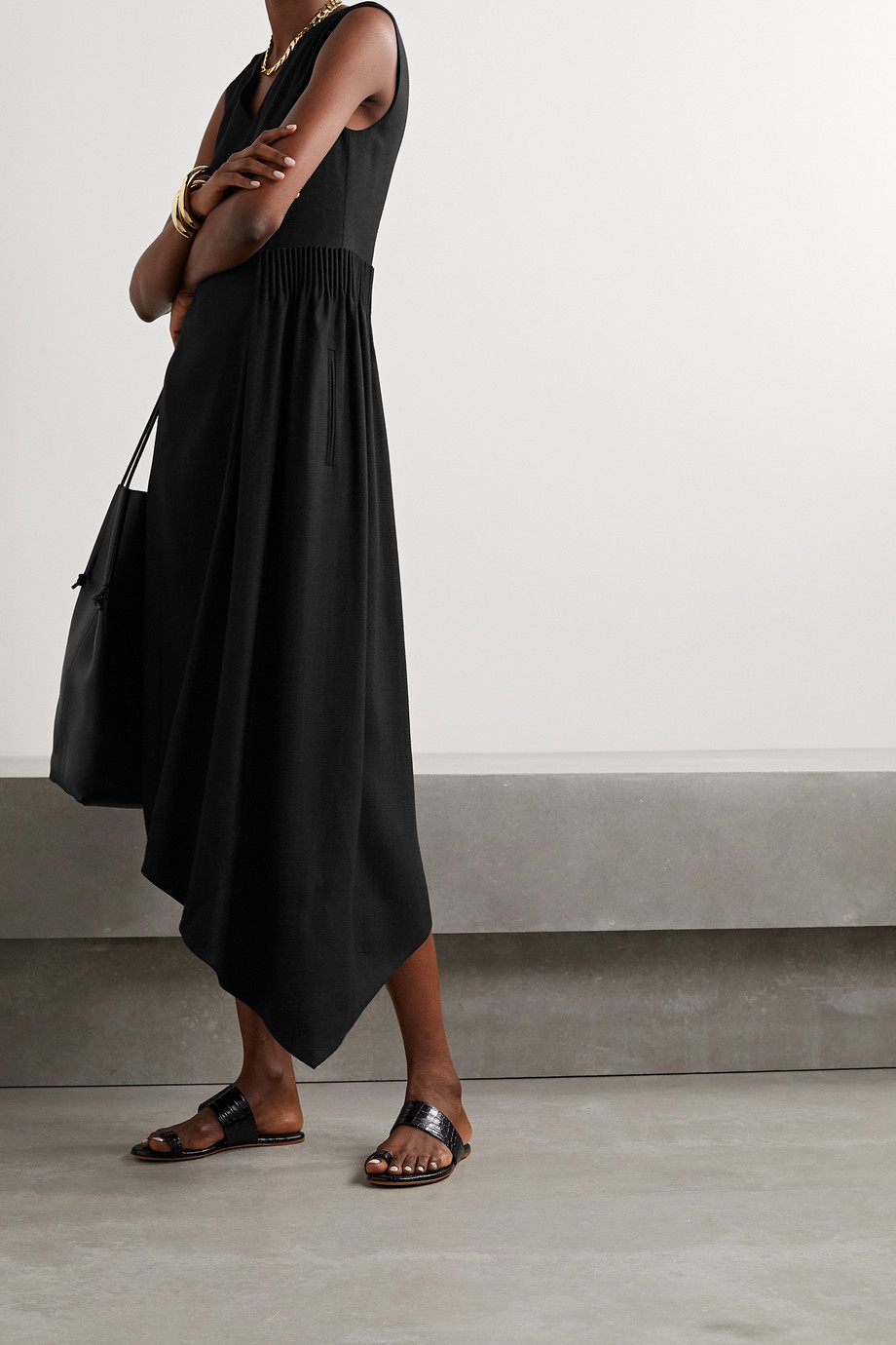 Adam Lippes Asymmetric gathered canvas midi dress