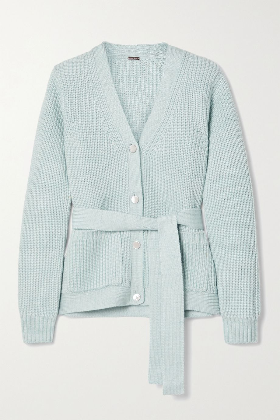 Adam Lippes Belted ribbed wool, silk and cashmere-blend cardigan