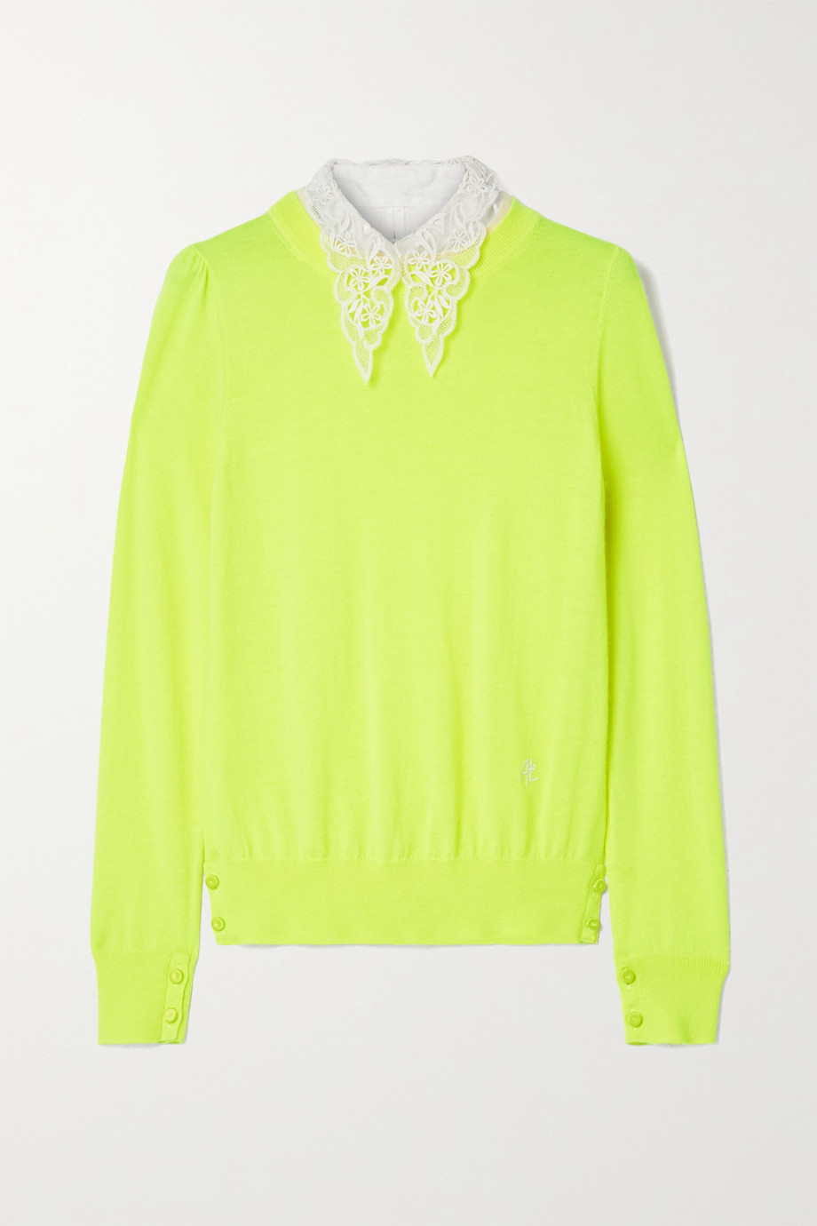 Adam Lippes Poplin and crocheted lace-trimmed wool sweater