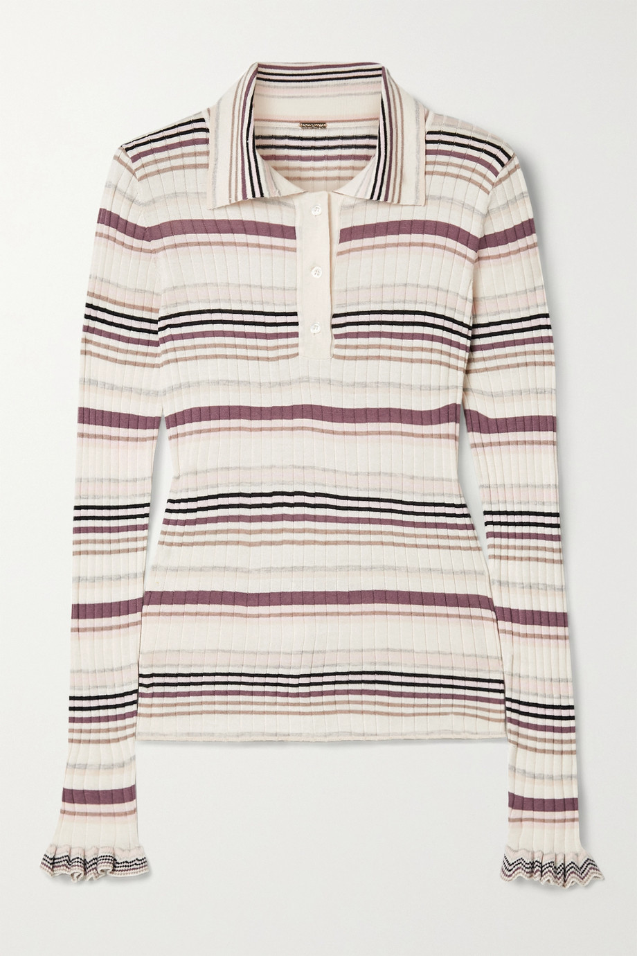 Adam Lippes Striped ribbed silk and cashmere-blend polo shirt