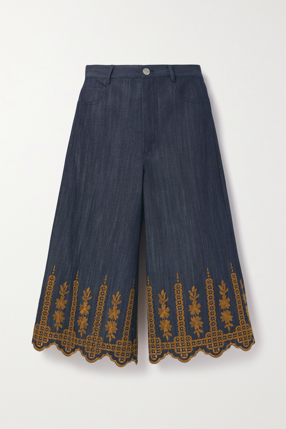 Adam Lippes Cropped embroidered high-rise wide-leg jeans