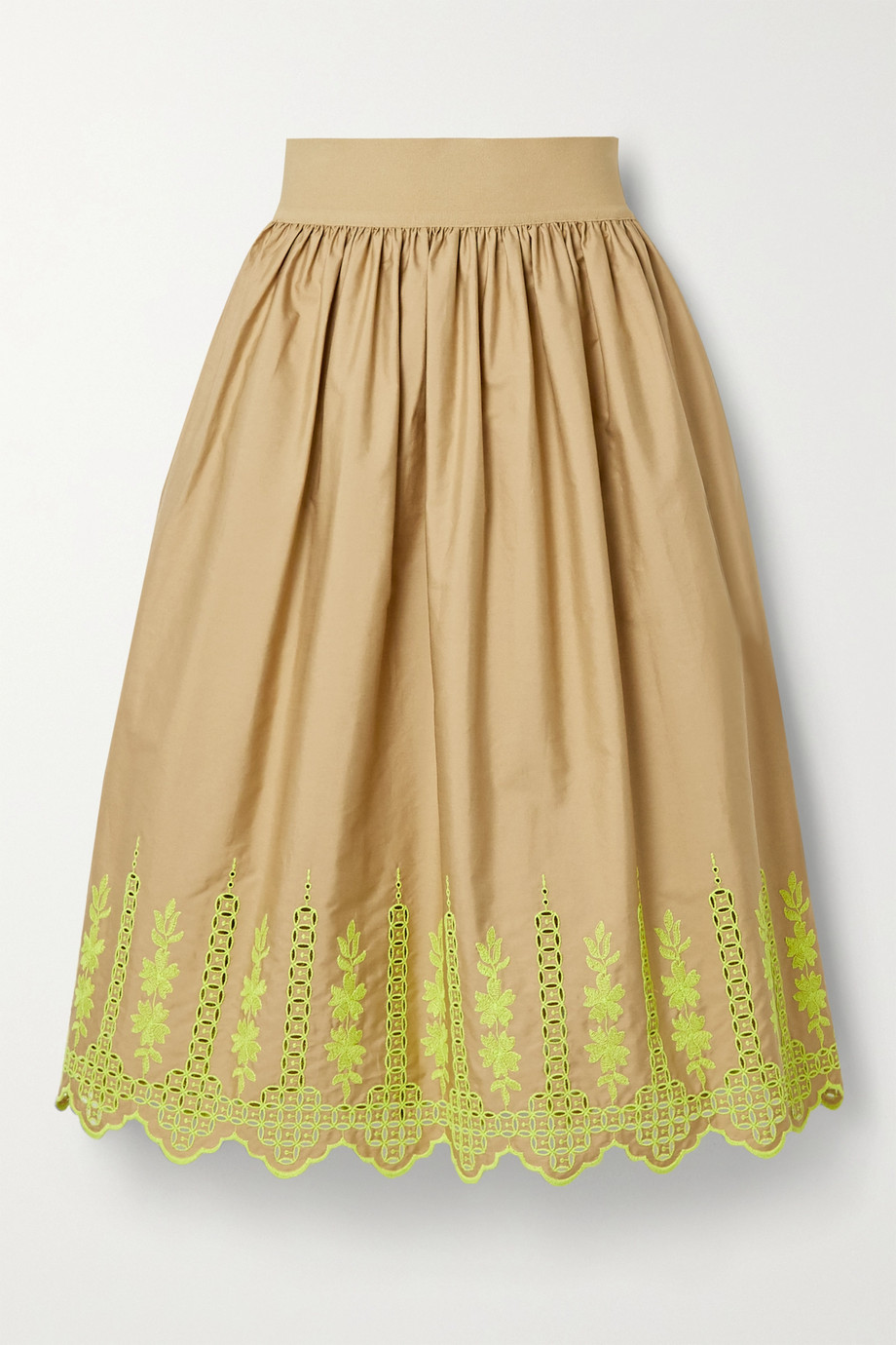 Adam Lippes Gathered broderie anglaise cotton-blend poplin midi skirt
