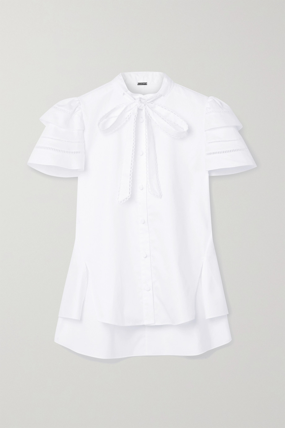 Adam Lippes Pussy-bow crochet-trimmed cotton-poplin blouse