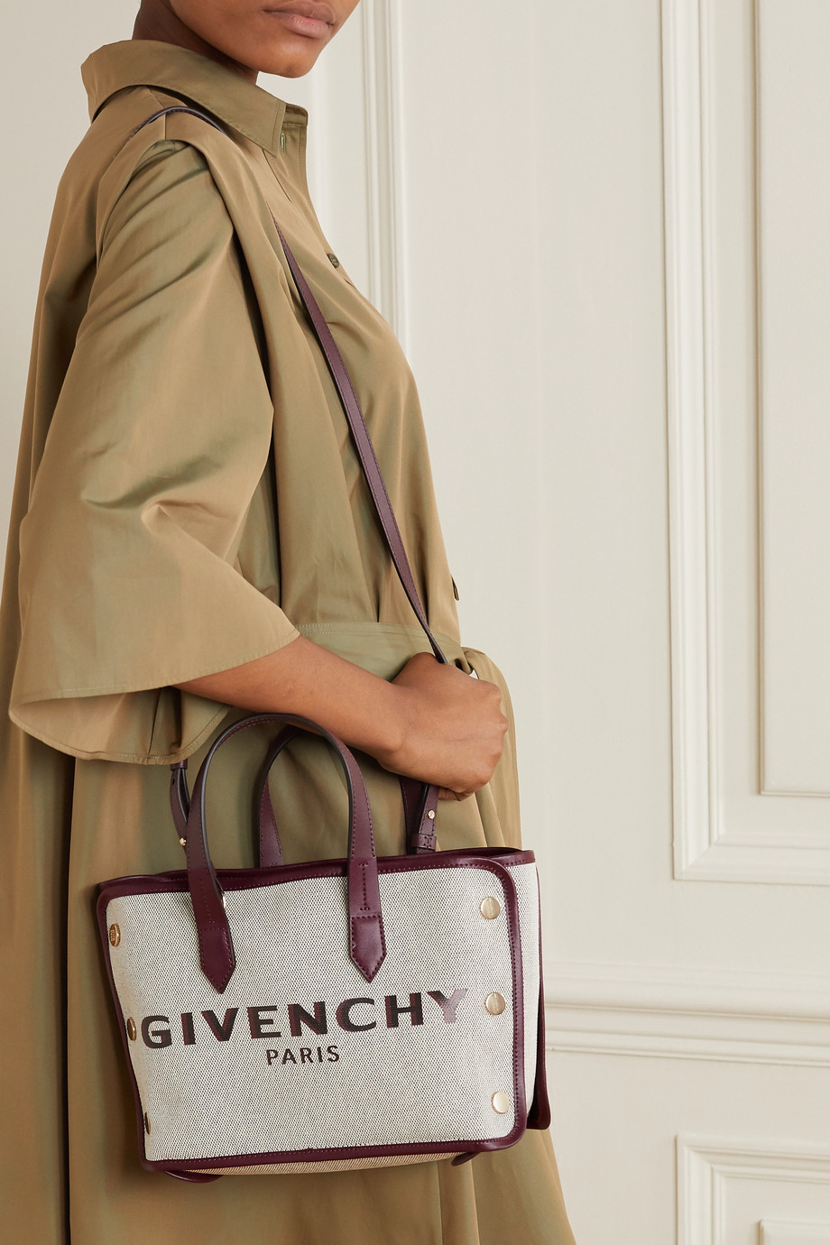 Givenchy Bond mini leather-trimmed studded canvas tote
