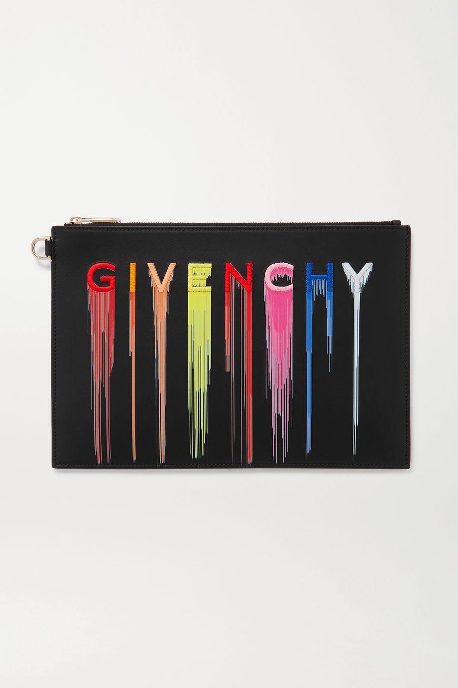 Givenchy Pochette en cuir imprimé à broderies