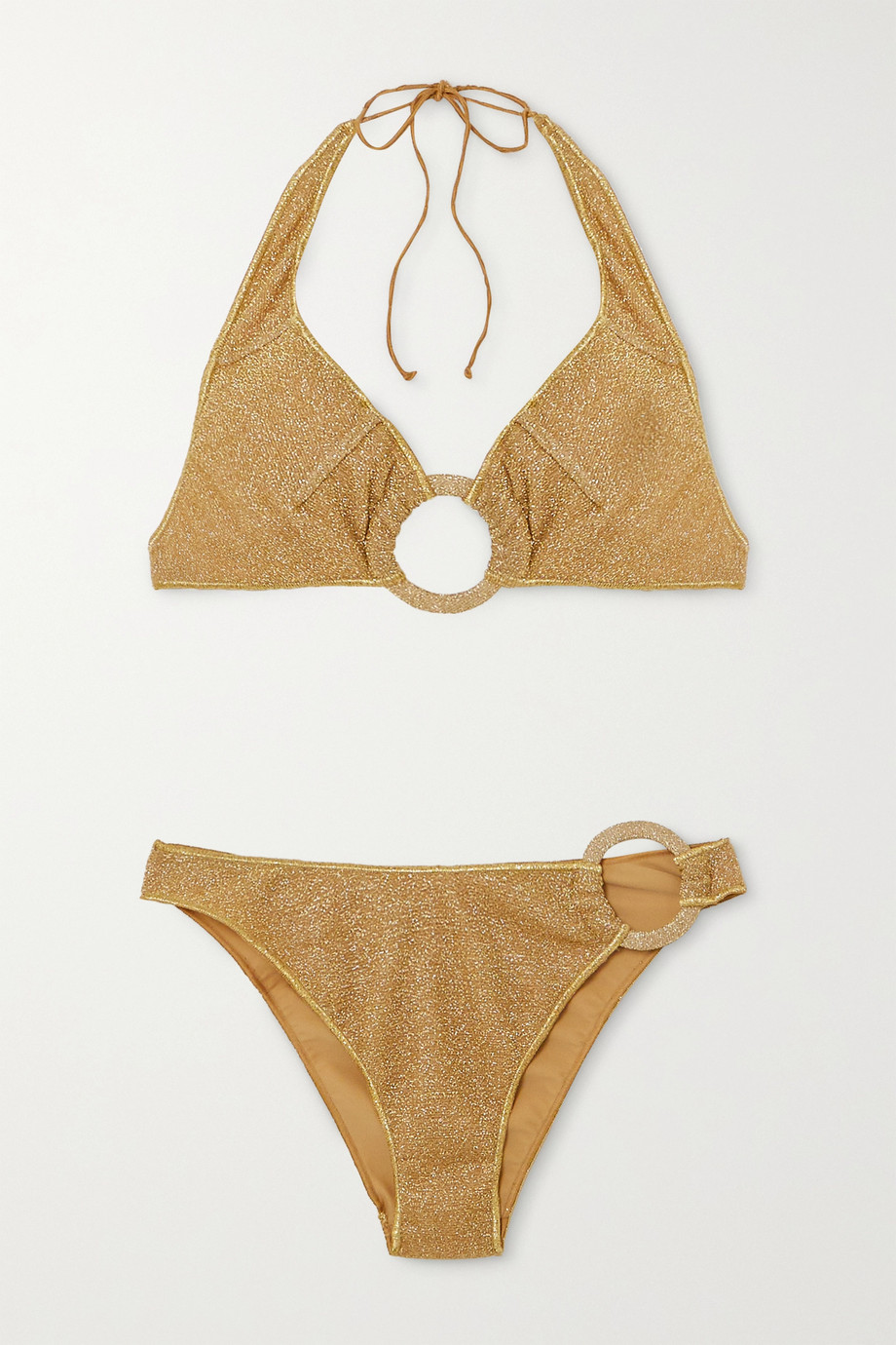 Oséree Embellished stretch-Lurex halterneck bikini
