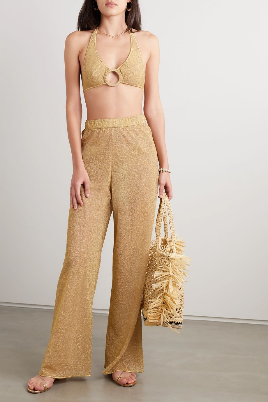 Oséree Stretch-Lurex wide-leg pants