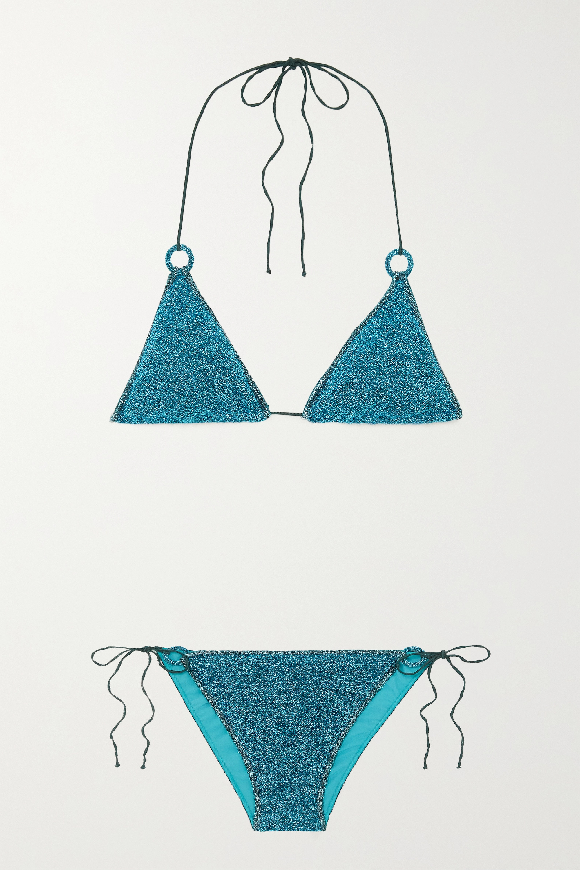 Stretch-Lurex triangle bikini by Oseree, available on net-a-porter.com for EUR162 Kourtney Kardashian Top Exact Product