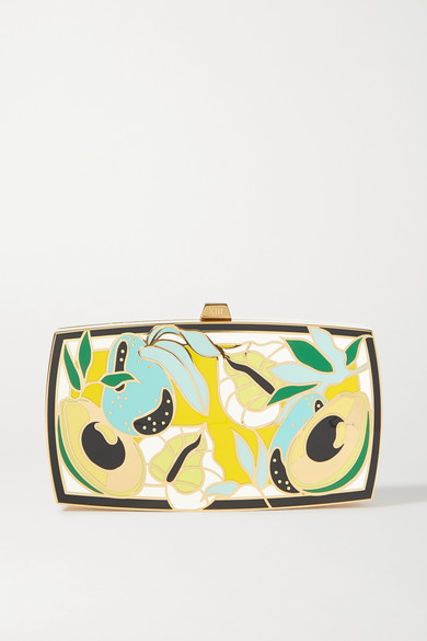 13BC - Mother Gold-tone And Enamel Clutch - one size