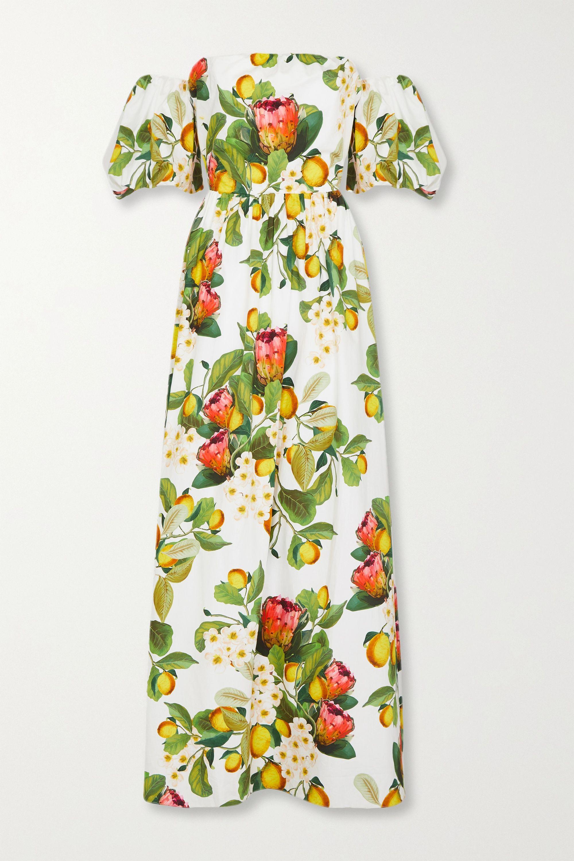 Borgo de Nor Juliet off-the-shoulder printed cotton-poplin maxi dress