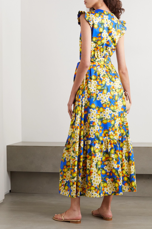 Borgo de Nor Gabrielle belted printed cotton-poplin midi dress