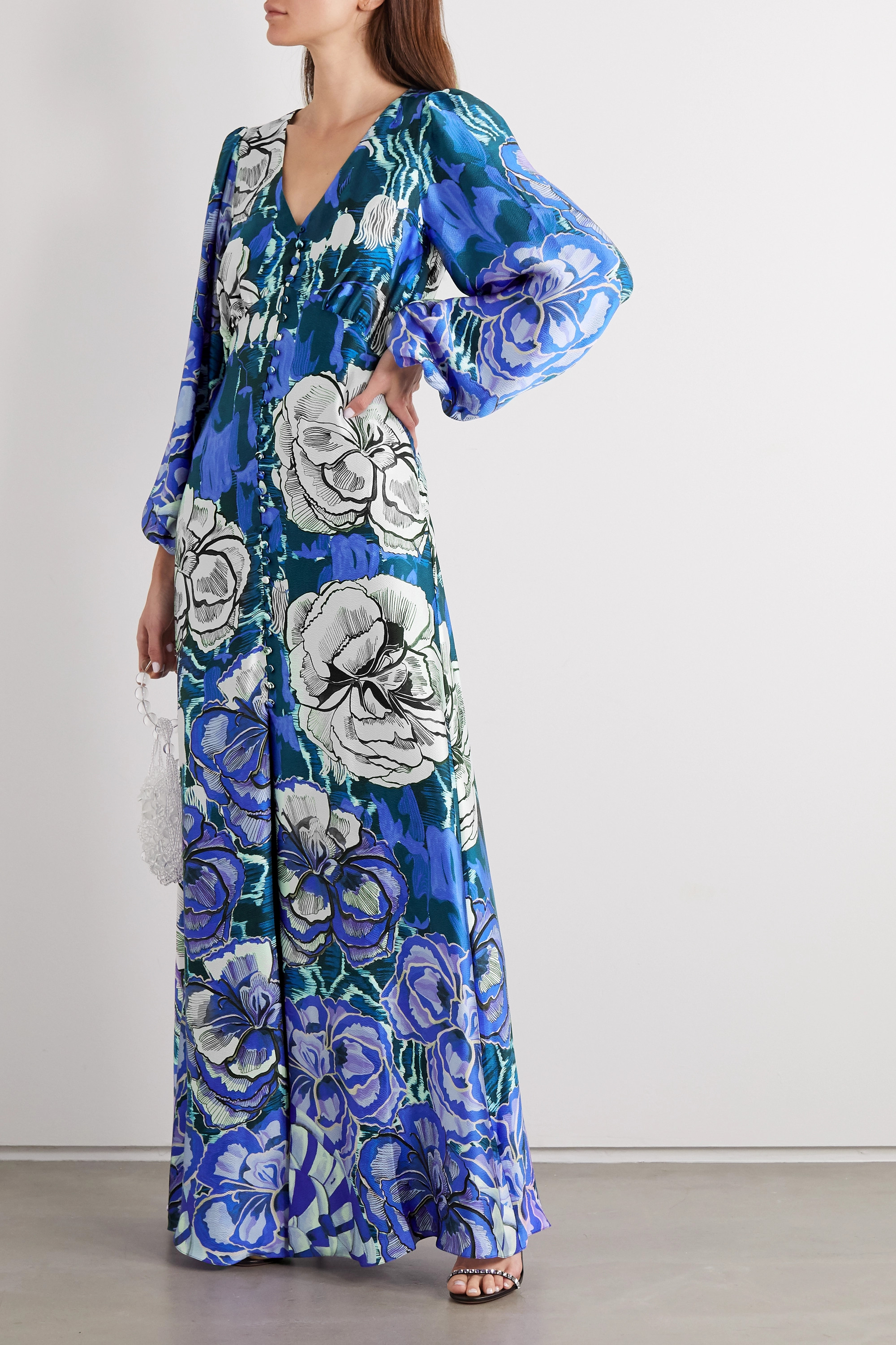 Temperley London Missy floral-print hammered silk-satin maxi dress