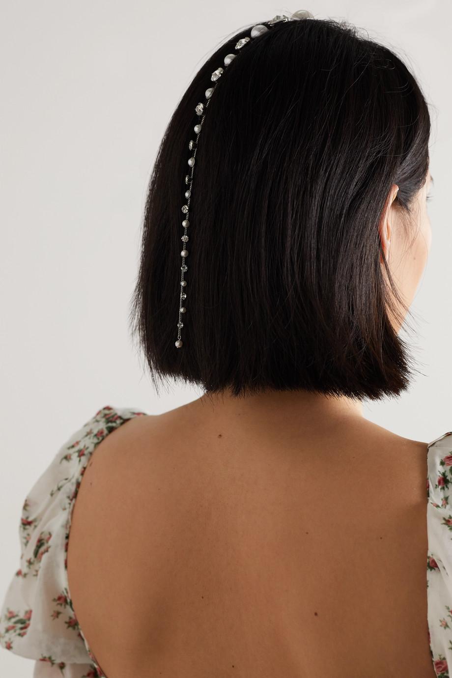 LELET NY Sara silver-tone, faux pearl and crystal hair slide