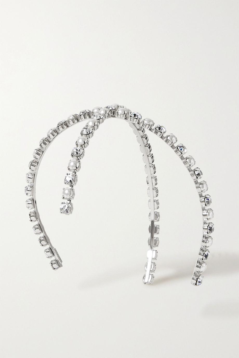 LELET NY 人造珍珠、施华洛世奇水晶、银色发箍
