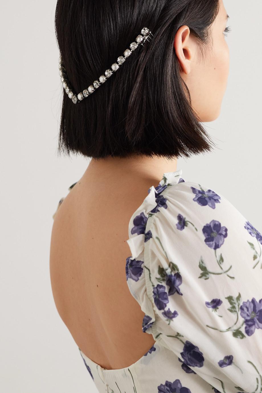 LELET NY Vee silver-tone, faux pearl and Swarovski crystal headband
